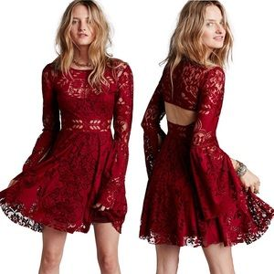 Free People Lovers Folk Song Red Lace Dress Flare